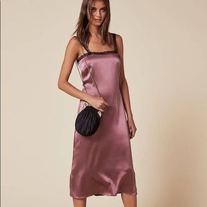 Flawless Reformation silk Tea Dress XS bardot rose